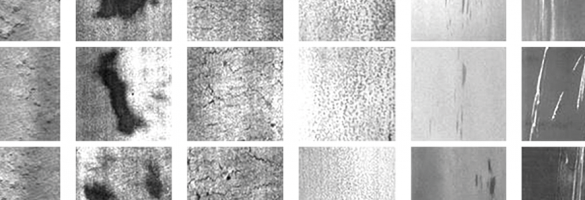 Detected error classes (from left to right): rolledin scale, patches, crazing, pitted surface, inclusion, scratches | © NEU Surface Defect Database